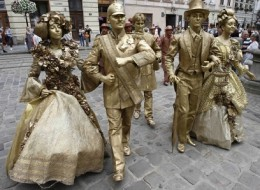 Statues walking in Lviv, Ukrain